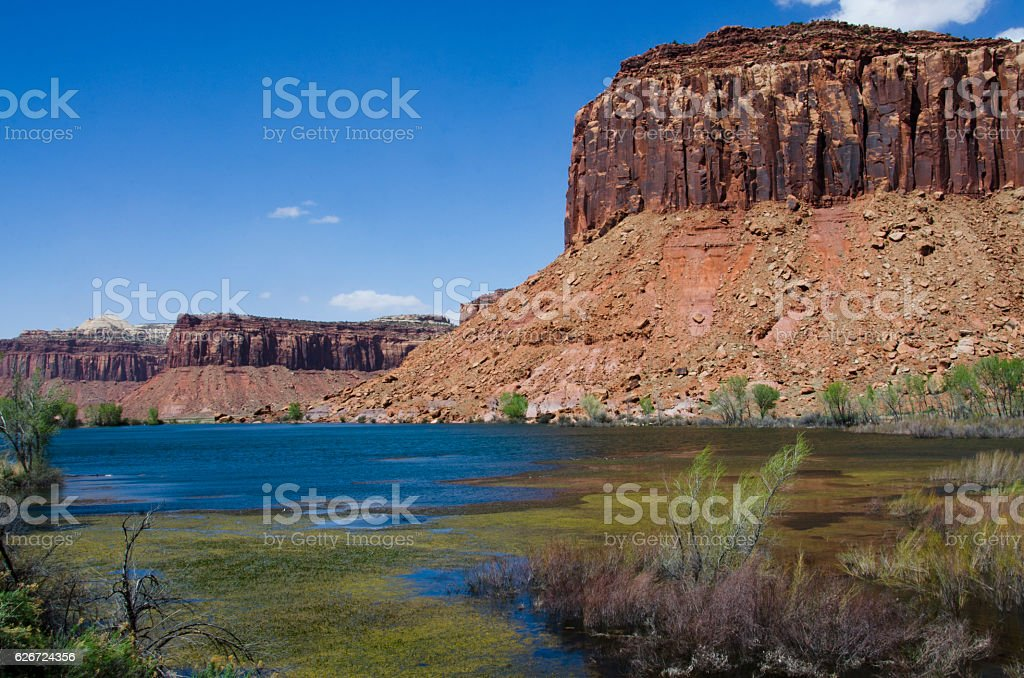 Lake in the Middle of Sandstone Buttes stock photo