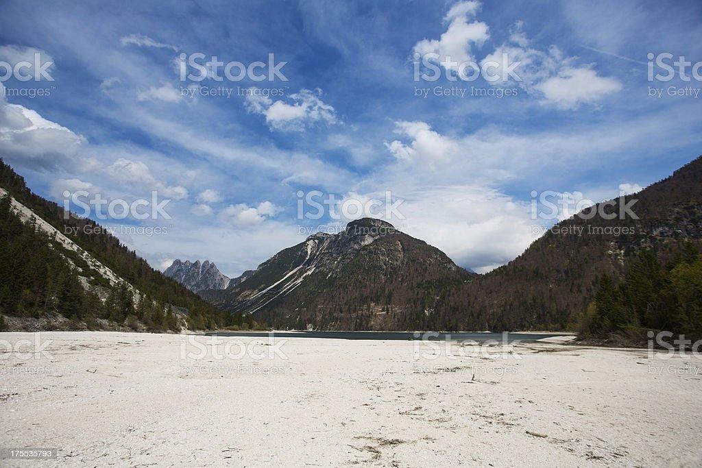Lake in the mountains..Lago di Predil,Italy stock photo
