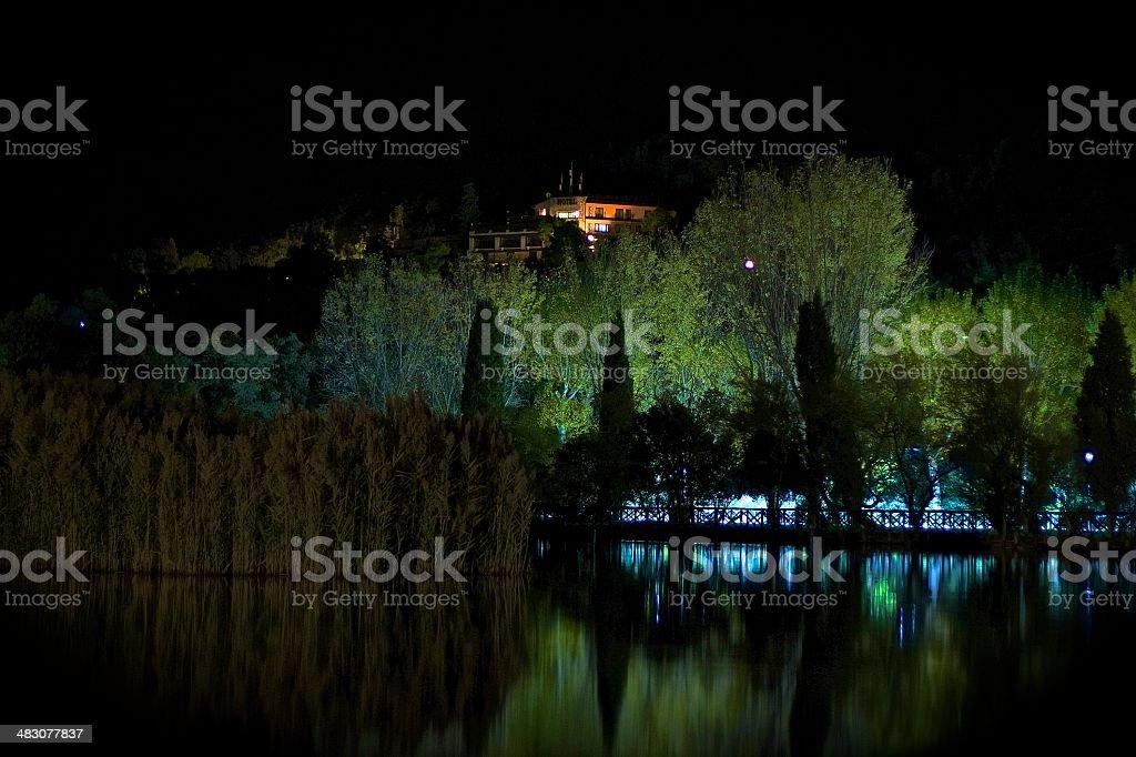 Lake in the night stock photo