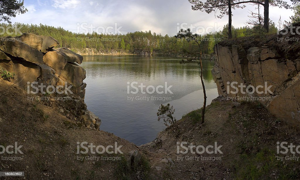 Lake in the old quarry royalty-free stock photo