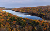 Lake of the Clouds and the Porcupine Mountains covered with beautiful, fall colors.