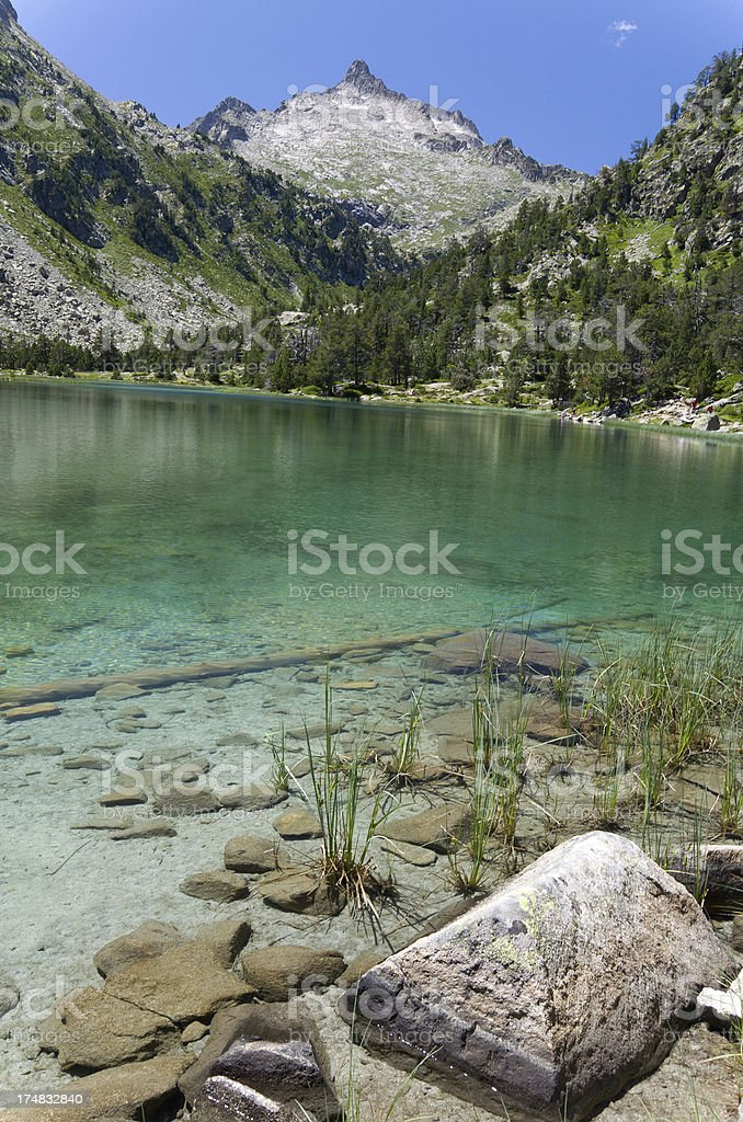 Lake in the summer Pyrenees royalty-free stock photo