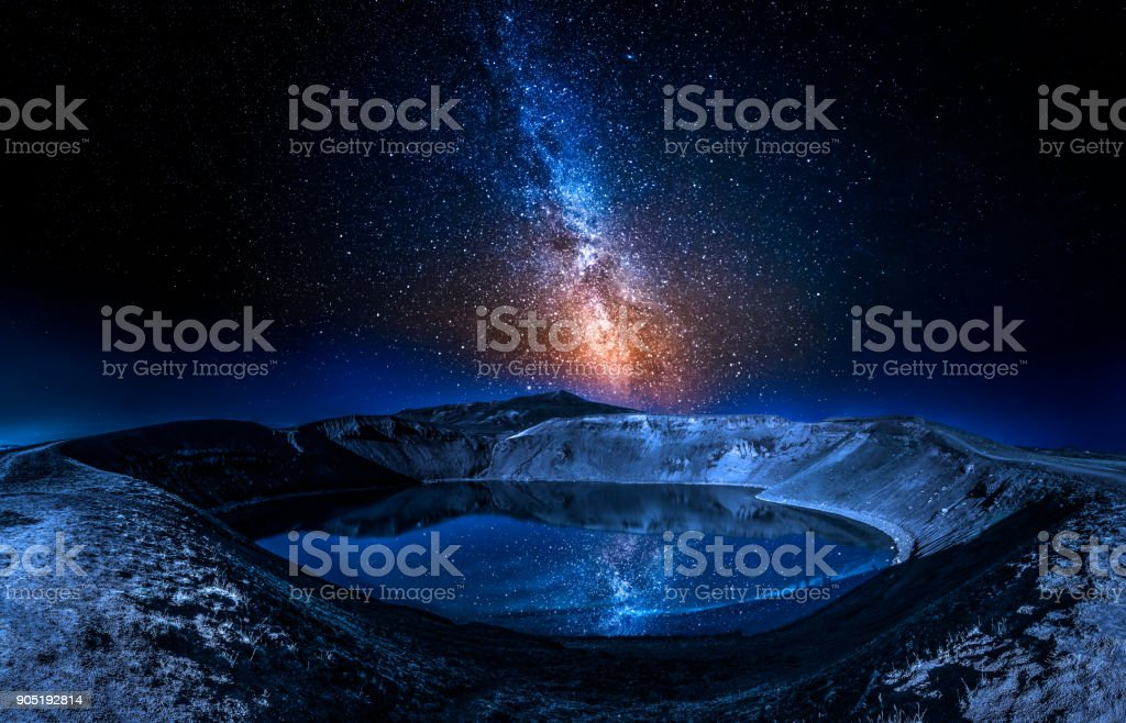 Lake in the volcano crater at night with stars, Iceland stock photo