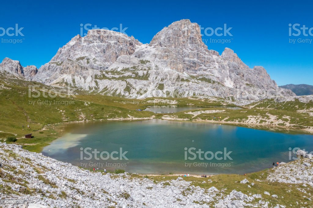 Lake in Tre Cime stock photo