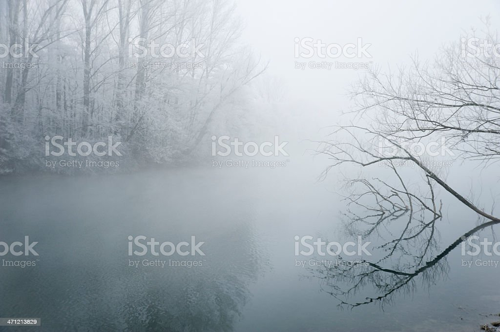 Lake in winter with hoarfrost royalty-free stock photo