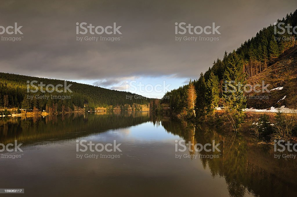 Lake in winter,Harz,Germany. royalty-free stock photo