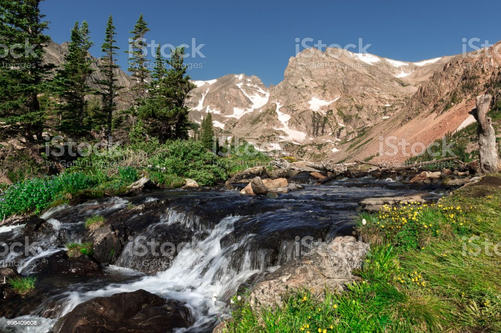 Lake Isabelle in the Indian Peaks Wilderness Colorado stock photo