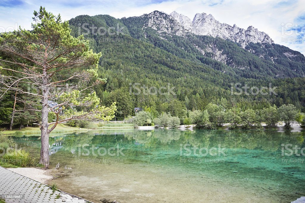 Lake Jasna near Kranjska Gora, Slovenia. stock photo