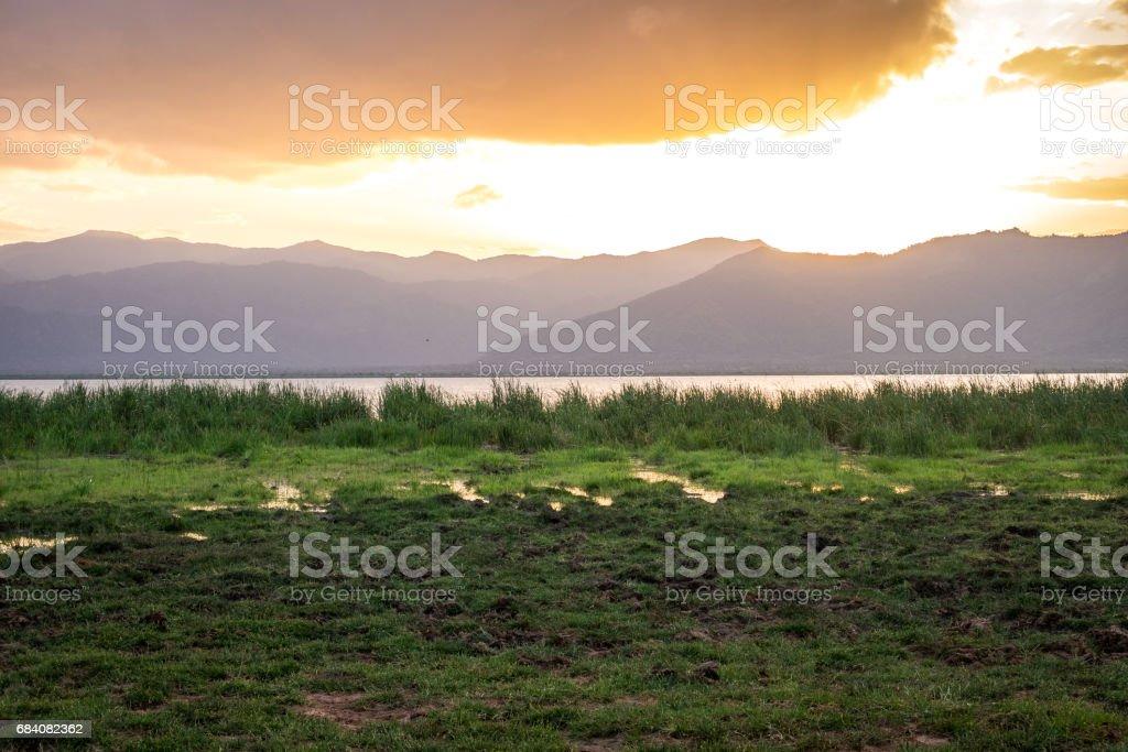 Lake Jipe at the border of Kenya and Tanzania, Africa stock photo