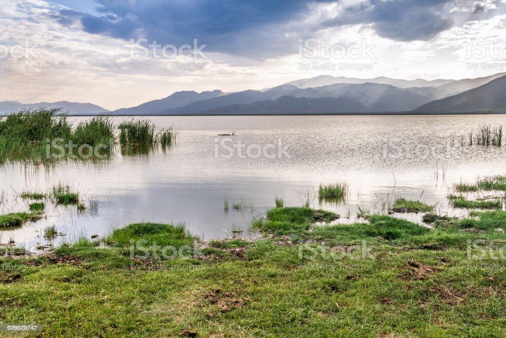Lake Jipe at the border of Kenya and Tanzania stock photo