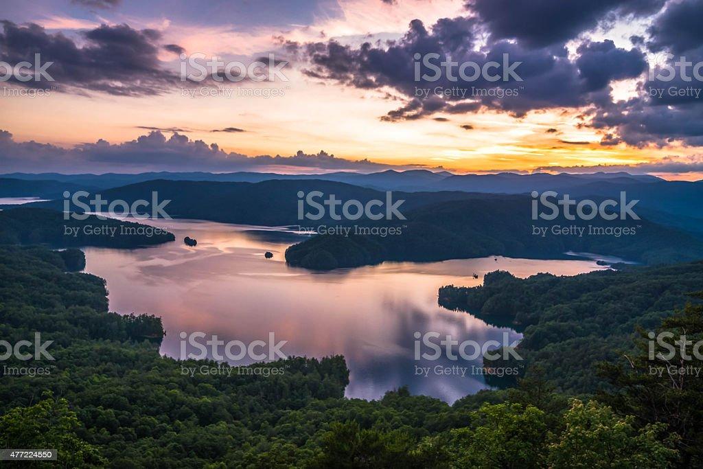 Lake Jocassee Sunset stock photo