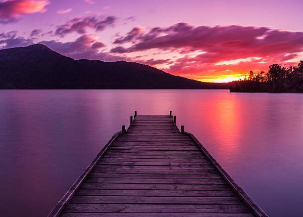 Lake Kaniere Sunset stock photo