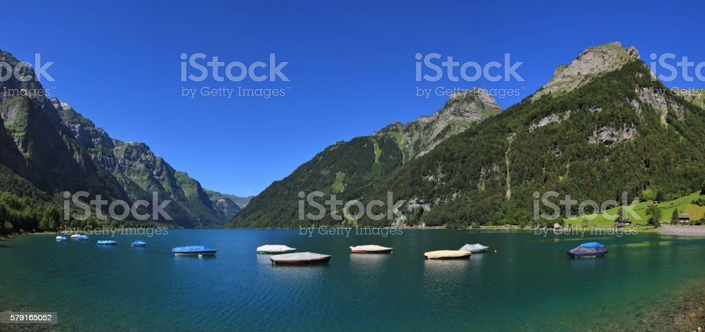 Lake Klontalersee and high mountains stock photo