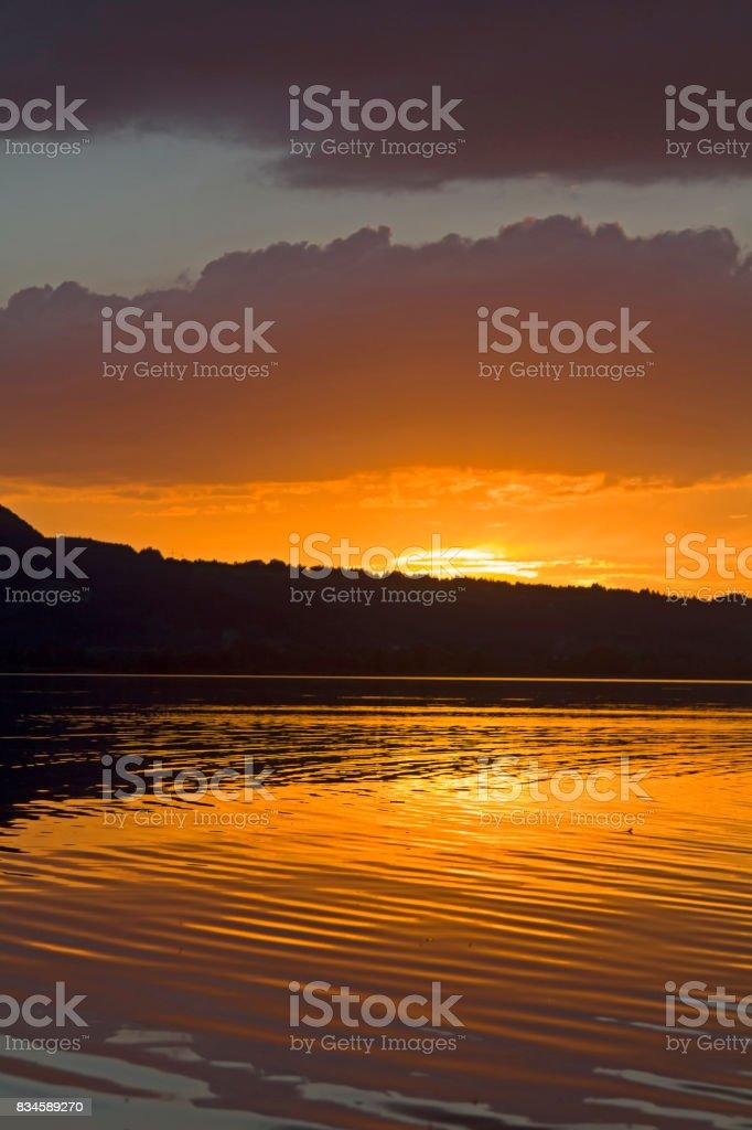 lake Kochel in evening stock photo