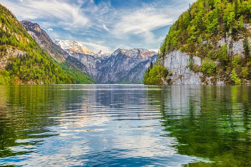 Lake Koenigssee in springtime, Berchtesgadener Land, Bavaria, Germany