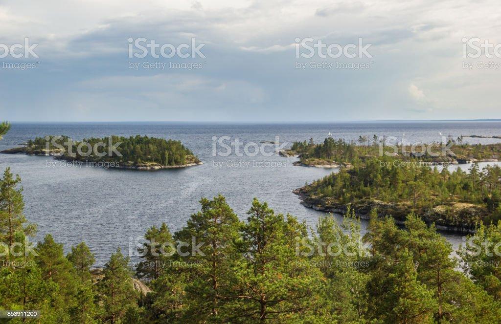 Lake Ladoga Skerries Karelia Russia Sails and Islands Autumn Landscape stock photo