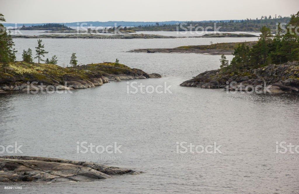 Lake Ladoga Skerries Karelia Russia Stone Islands Autumn Scenery stock photo