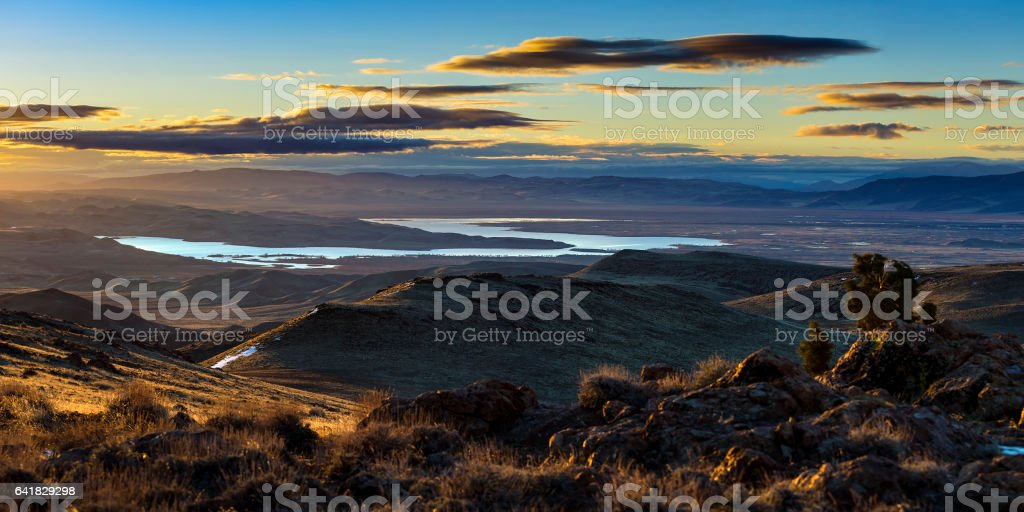 Lake Lahontan and Silver Springs Sunrise in the Nevada desert. stock photo