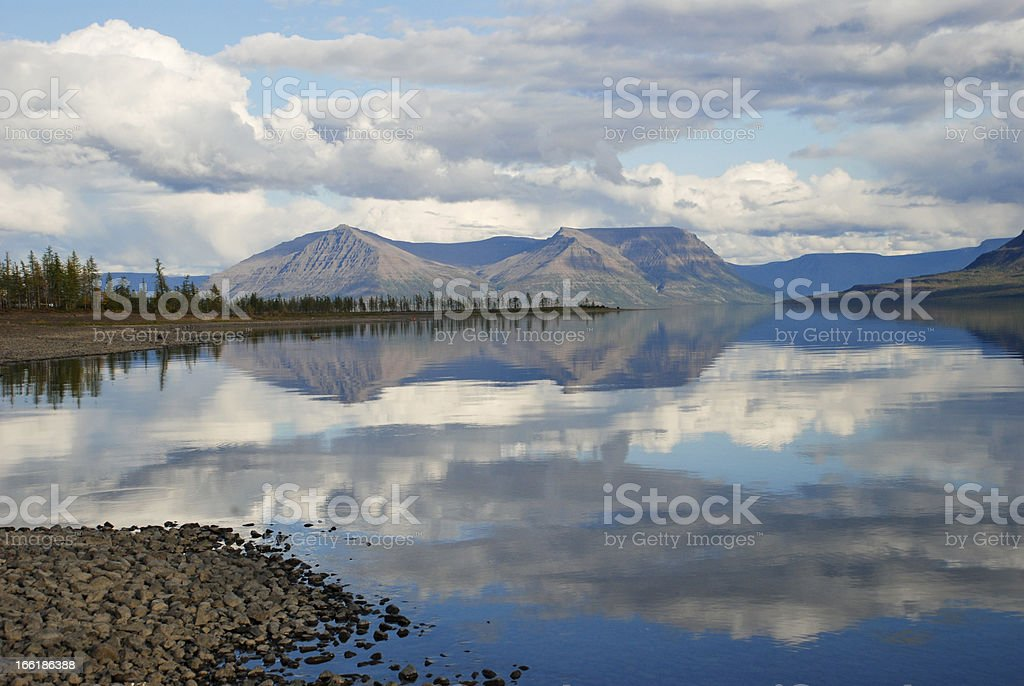 Lake Lama and reflected in the water clouds royalty-free stock photo