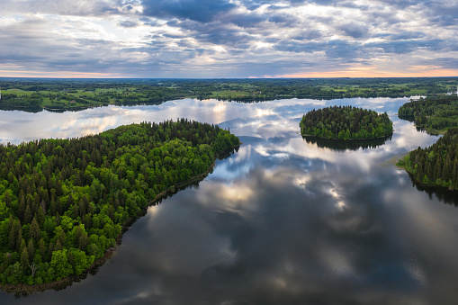 Lake landscape at sunrise