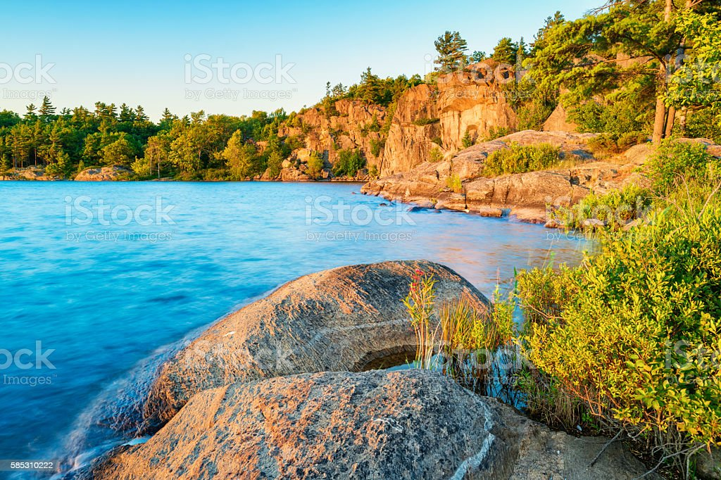 Lake Landscape during Sunset in the Muskoka Area Ontario Canada stock photo