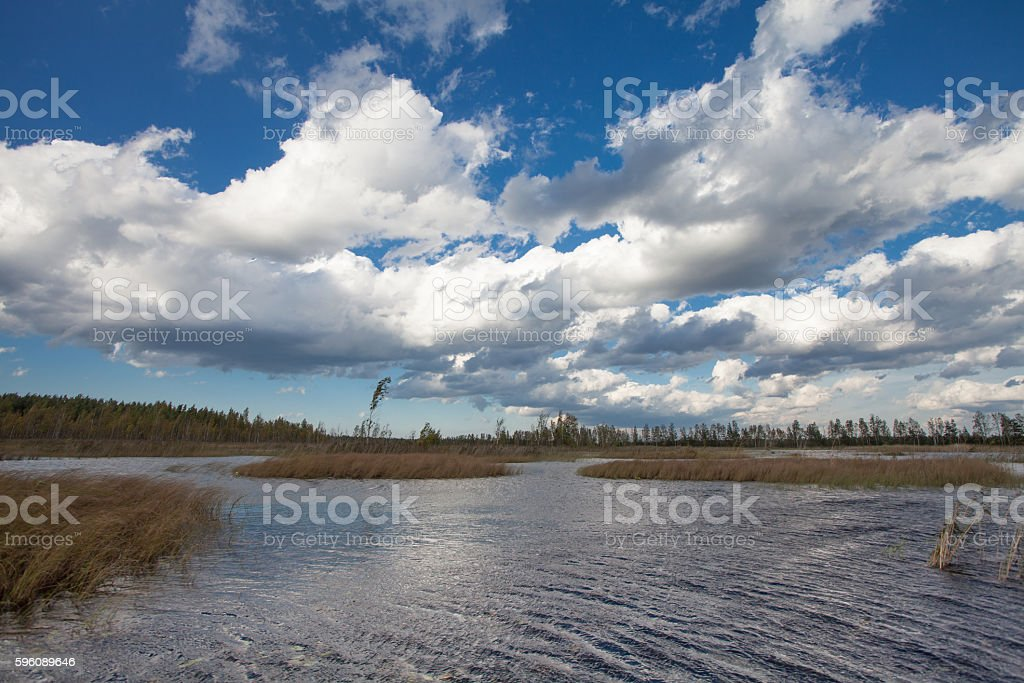 Lake landscape in autumn and blue sky with clouds Lizenzfreies stock-foto
