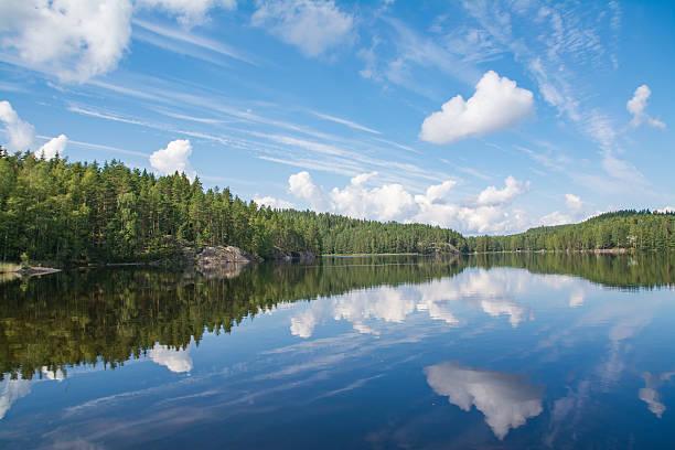 Lake landscape in Finland stock photo