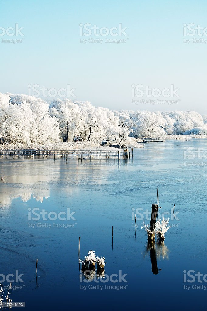 Lake landscape in winter time royalty-free stock photo