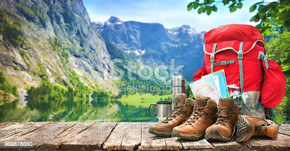 istock lake landscape with big backpack and trekking boots 966378690