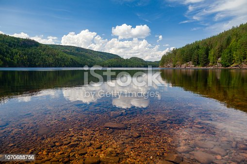 Crystal clear water of  Lake Langen in Telemark County, Southern Norway