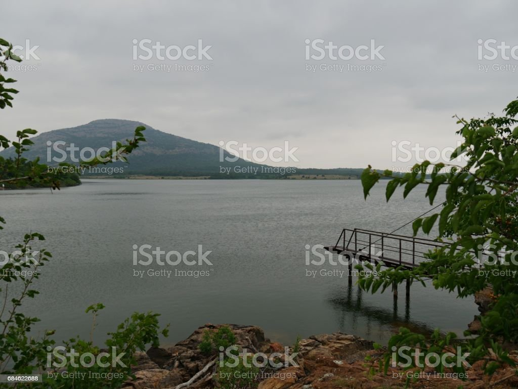 Lake Lawtonka, facing Mt Scott, Oklahoma stock photo