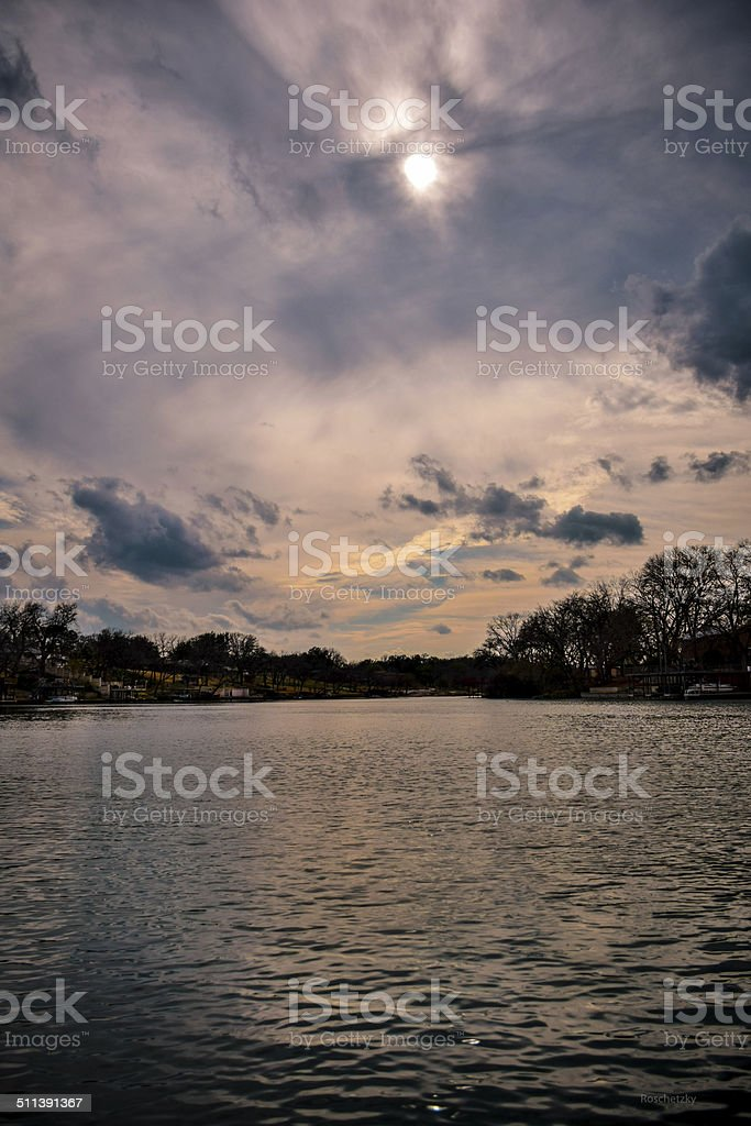Lake LBJ in Austin , Texas HDR sunset Photo stock photo