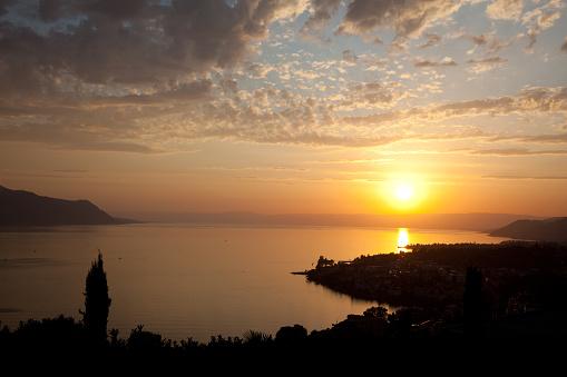 Lake Leman and Mountains at Sunset, Montreux, Switzerland