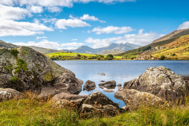 Lake Llynnau Mymbyr in Snowdonia, North Wales stock photo