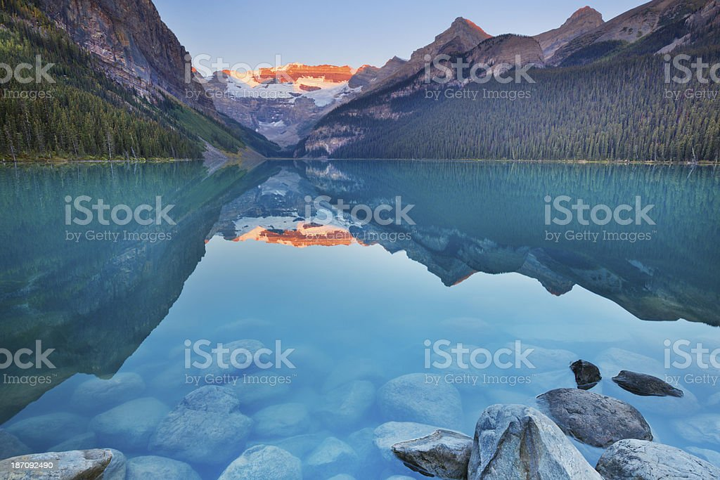 Lake Louise, Banff National Park, Canada at sunrise stock photo