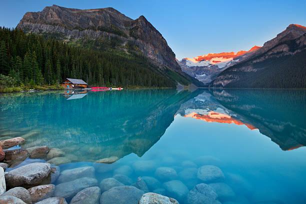 Lake Louise, Banff National Park, Canada at sunrise stock photo