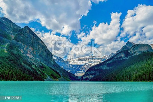 Lake Louise, also known as the Lake of Little Fishes, is named after Princess Louise Caroline Alberta, the fourth daughter of Queen Victoria of the United Kingdom. In this picture, Fairview Mountain, Mount Victoria, Mount Whyte and The Beehive form the backdrop to Lake Louise, Banff National Park, Alberta, Canada.