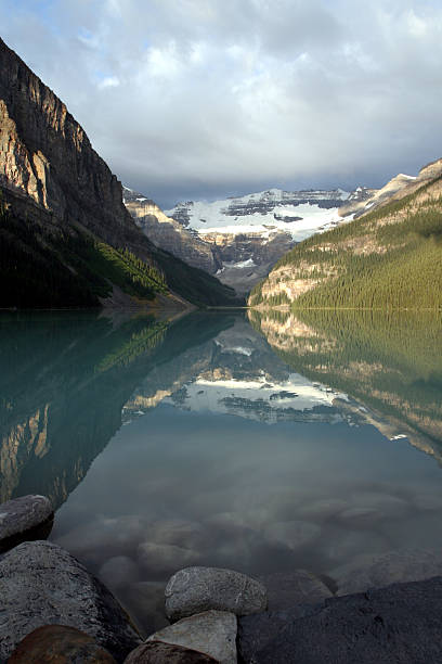 Lake Louise from the rocks stock photo