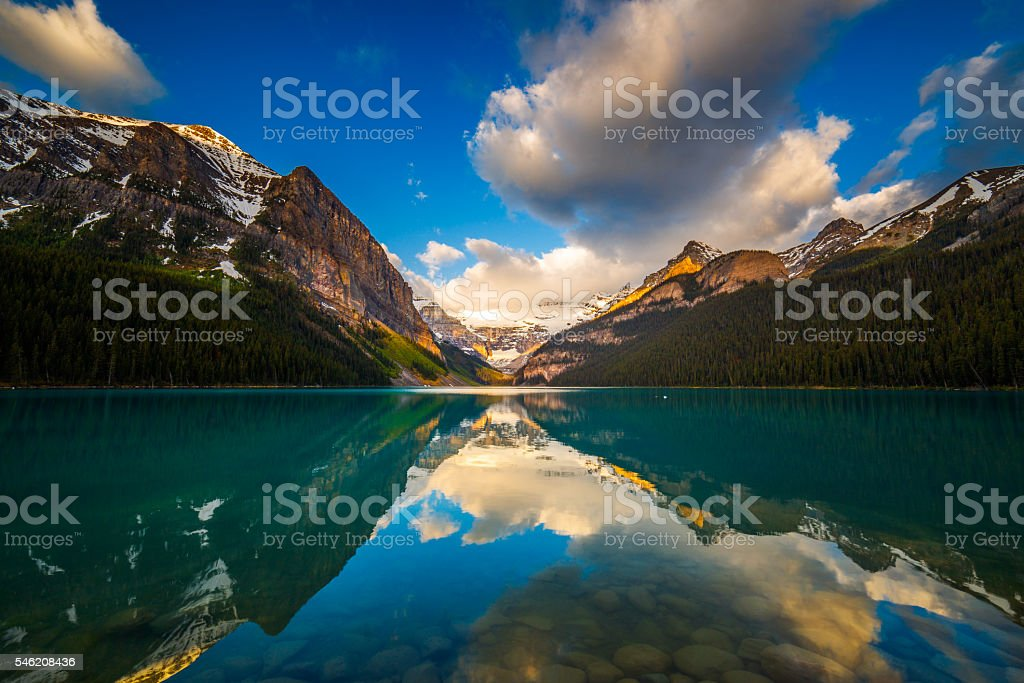 Lake Louise in Banff, Alberta, Canada stock photo