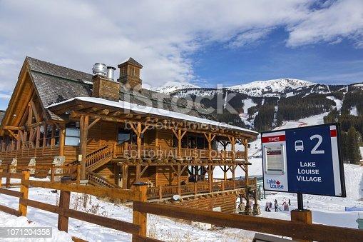 Lake Louise, Alberta, Canada - November 21, 2018: World Famous Ski Area at Lake Louise, a site of Alpine Ski Men and Women World Cup Event Nov 24 - Dec 3, 2018