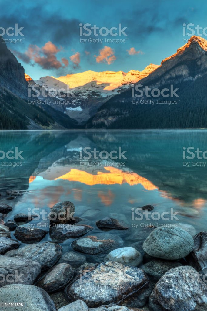 Lake Louise Sunrise stock photo