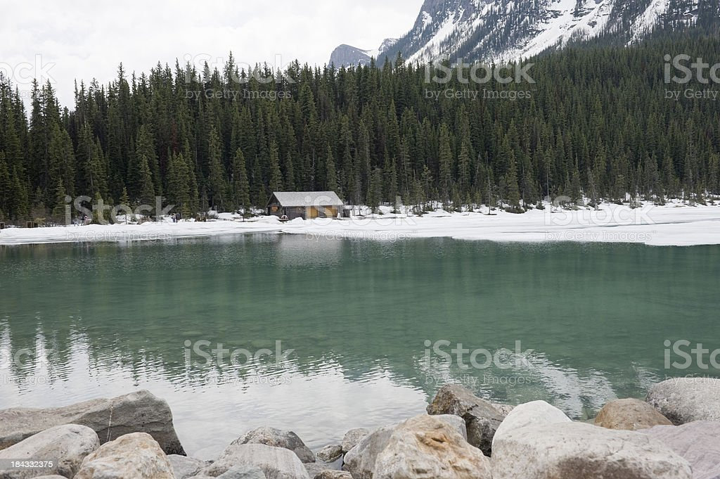 Lake louise with ice and snow royalty-free stock photo
