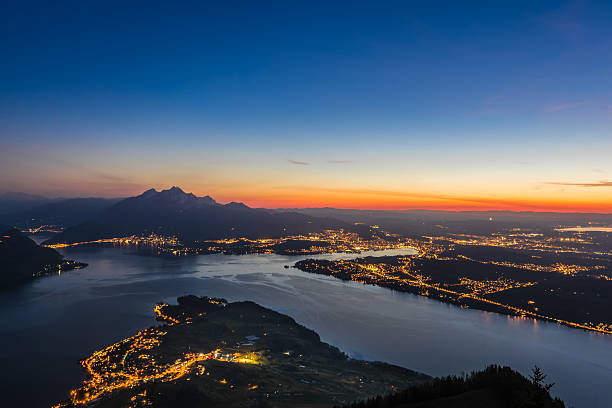 lake lucerne at dawn - lucerne stock pictures, royalty-free photos & images