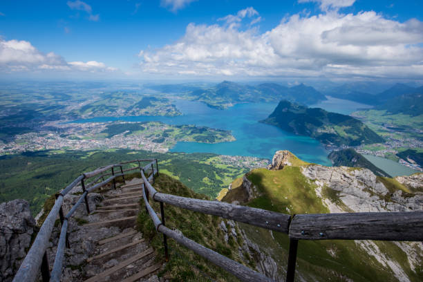 lake lucerne from the pilatus hiking trail - lucerne stock pictures, royalty-free photos & images