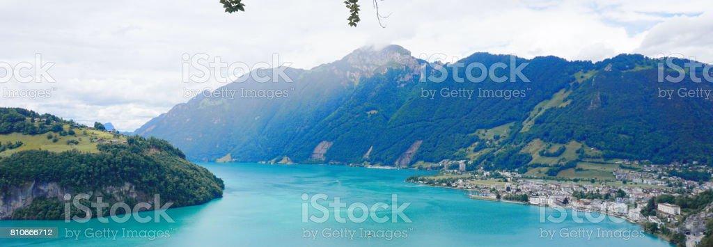 Lake Lucerne panorama stock photo