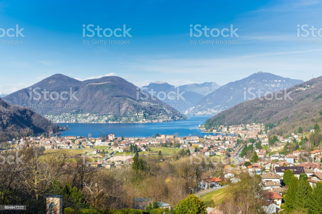 Lake Lugano, Porto Ceresio, northern Italy. Picturesque aerial view of Porto Ceresio and Besano stock photo