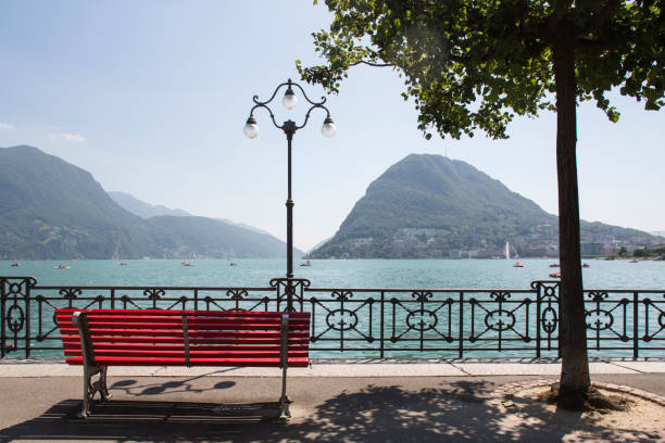 Lake Lugano view stock photo