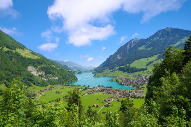 Lake Lungern Valley from Brunig Pass between Lucerne and Interlaken, Switzerland