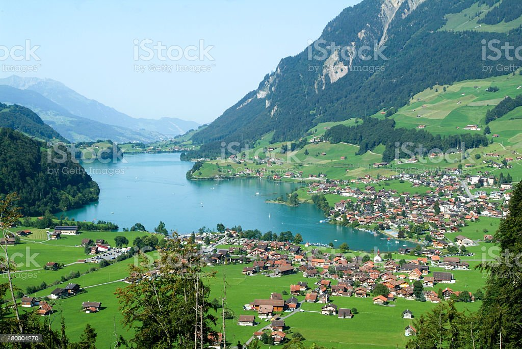 Lake Lungern Valley from Brunig Pass stock photo