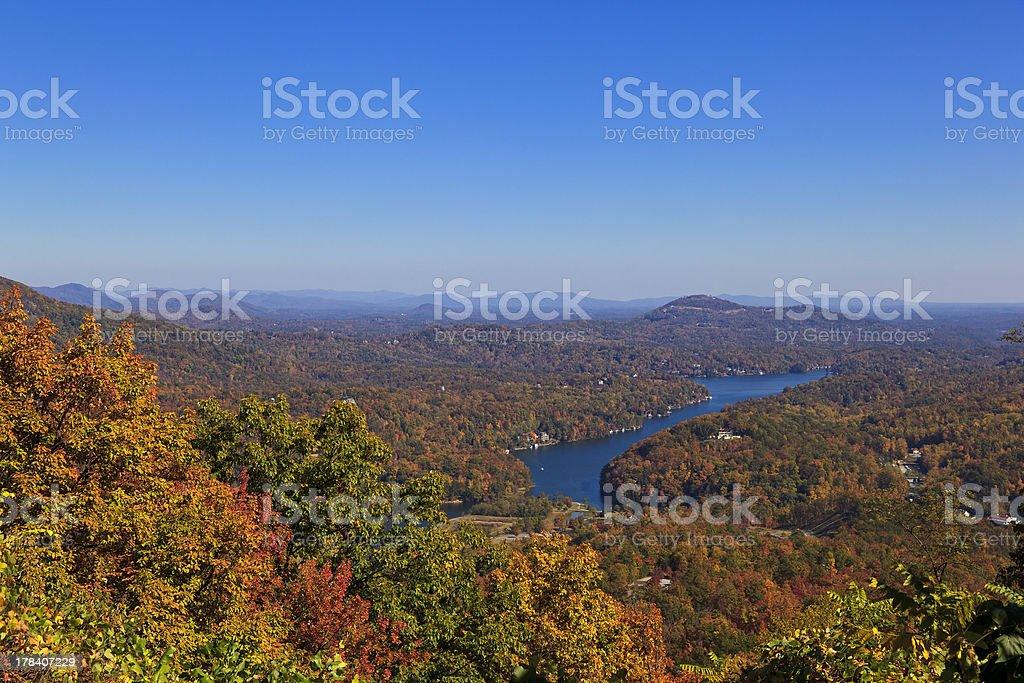 Lake Lure in the NC Fall Season stock photo